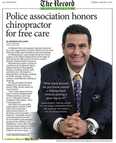 Recognized by the Paterson Police for Free Care
