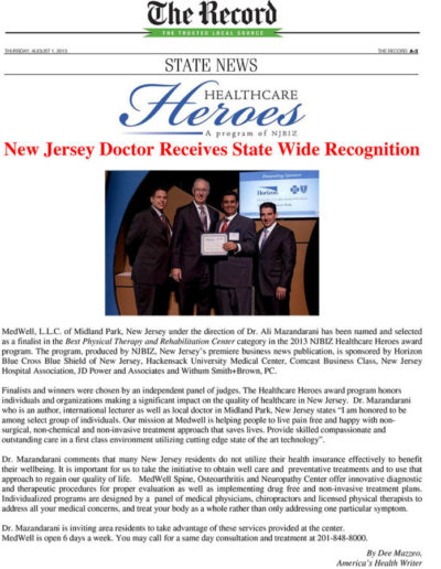 State Wide Recognition for Healthcare Heros