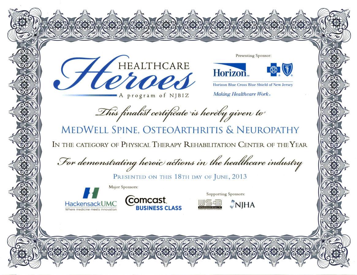 Healthcare Heroes Certificate